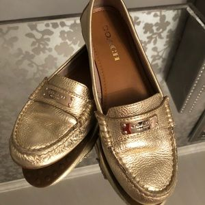 Coach Gold Loafers EUC